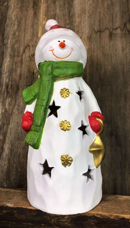 25cm Christmas Ceramic Hand Painted Snowman with Scarf Tea Light Candle Holder